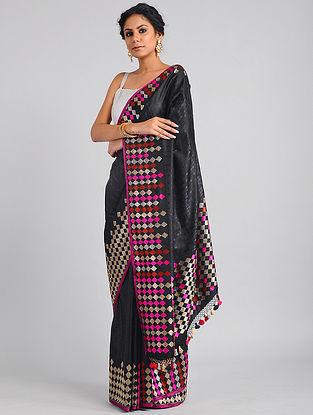 Black-Pink Handwoven Benarasi Katan Silk Saree