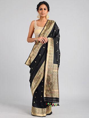 Black Handwoven Benarasi Katan Silk Saree