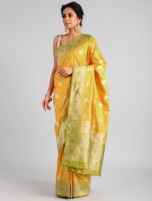 Mustard Handwoven Benarasi Katan Silk Saree
