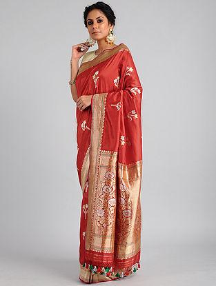 Red Handwoven Benarasi Katan Silk Saree