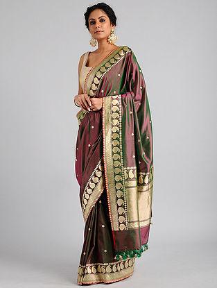 Purple Handwoven Benarasi Katan Silk Saree