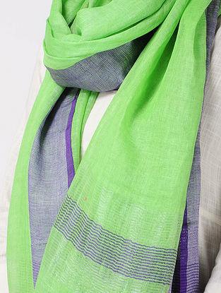 Green-Purple Linen Stole with Zari and Tassels