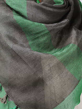 Black-Green Linen Stole with Zari and Tassels