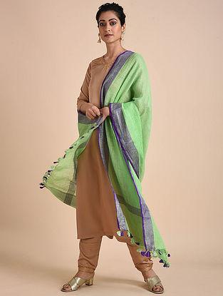 Green-Purple Handwoven Linen Dupatta with Tassels