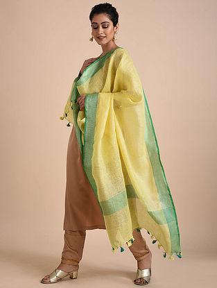Yellow-Green Handwoven Linen Dupatta with Tassels