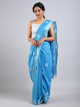 Blue Cotton Saree with Zari and Tassels