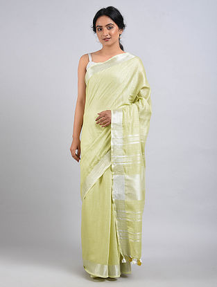 Green Cotton Saree with Zari and Tassels