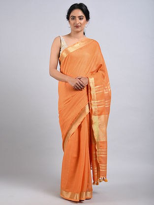 Orange Cotton Saree with Zari and Tassels