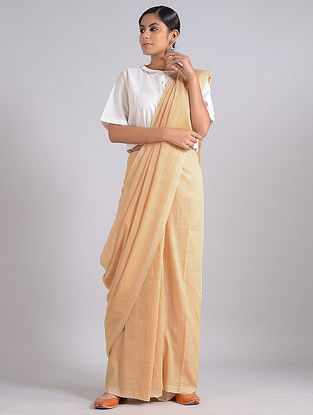 Beige Handwoven Cotton Saree
