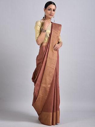 Brown Handwoven Tussar Muga Silk Saree