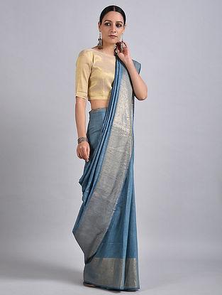 Blue Handwoven Tussar Muga Silk Saree