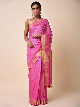Pink Cotton Saree with Zari