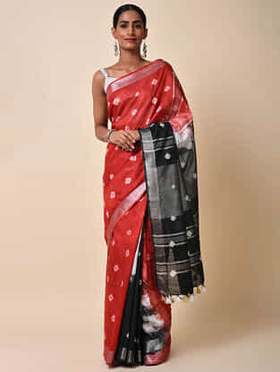 Red-Black Bandhani Cotton Saree with Zari