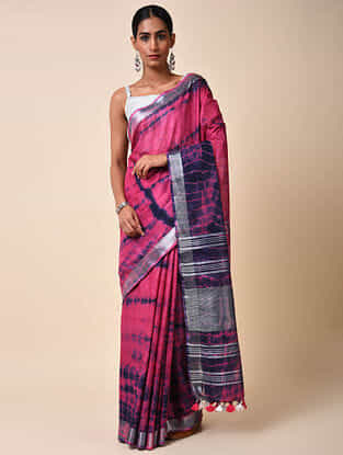 Pink-Blue Tie and Dye Cotton Saree with Zari