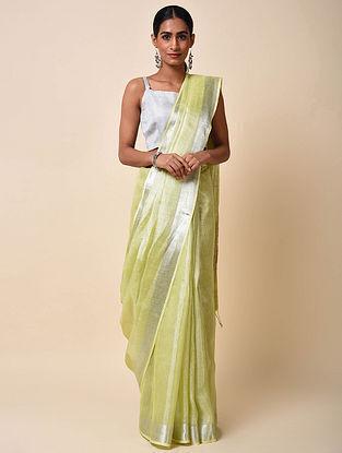 Green Tissue Linen Saree with Zari