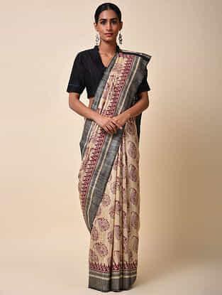 Cream-Maroon Block Printed Tussar Muga Silk Saree with Zari