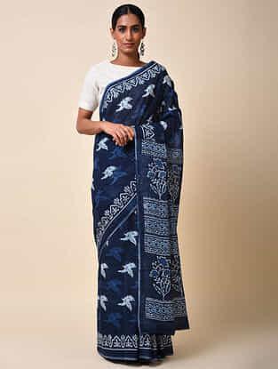 Blue-Ivory Block Printed Cotton Saree with Zari