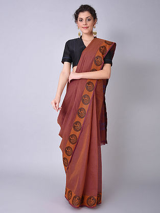 Brown Chettinad Cotton Saree