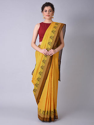 Yellow-Brown Chettinad Cotton Saree