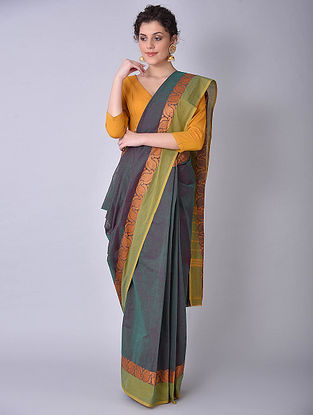 Blue-Green Chettinad Cotton Saree