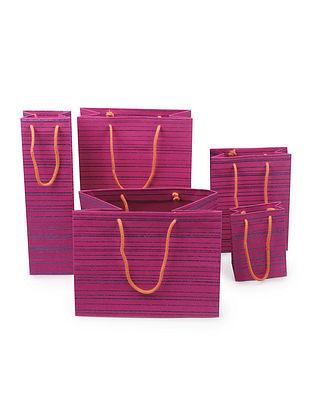 Fuchsia-Turquoise Stripe Glitter Printed Gift Bags - Set of 5