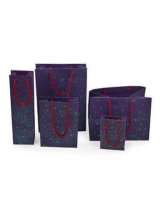 Purple-Green Star Glitter Printed Gift Bags - Set of 5