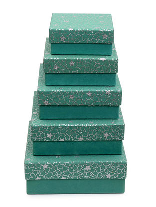 Green Star Glitter Printed Square Boxes - Set of 5