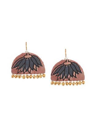 Onion Pink Handmade Fabric Earrings with Ghungroo