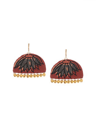 Maroon Handmade Fabric Earrings with Ghungroo