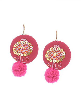 Pink Handmade Fabric Earrings with Pom Poms