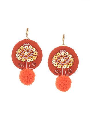 Orange Handmade Fabric Earrings with Pom Poms