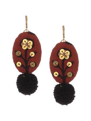 Maroon Handmade Fabric Earrings with Pom Poms