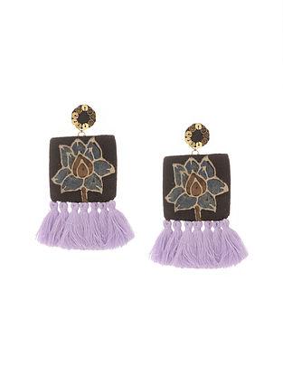 Brown Handmade Fabric Earrings with Tassels