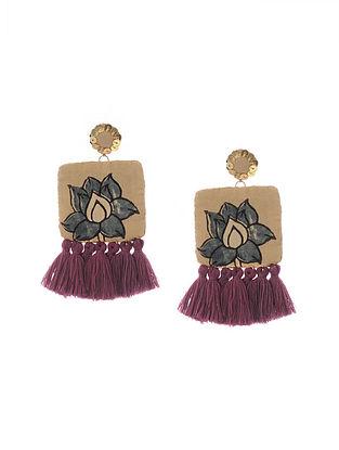 Mustard Handmade Fabric Earrings with Tassels