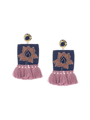 Blue Handmade Fabric Earrings with Tassels