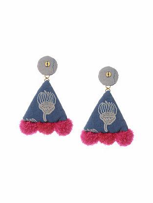 Blue Pink Handmade Fabric Earrings with Pom Pom