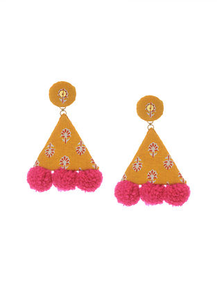Yellow Pink Handmade Fabric Earrings with Pom Pom