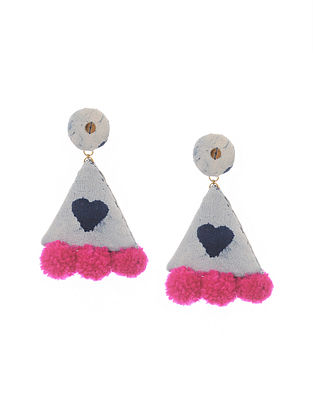 White Blue Handmade Fabric Earrings with Pom Pom