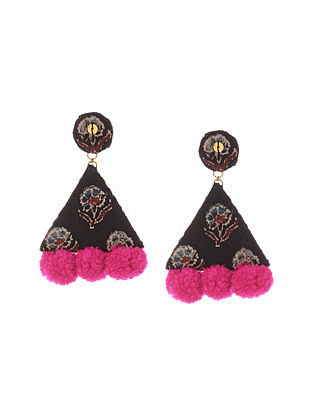 Black Pink Handmade Fabric Earrings with Pom Pom