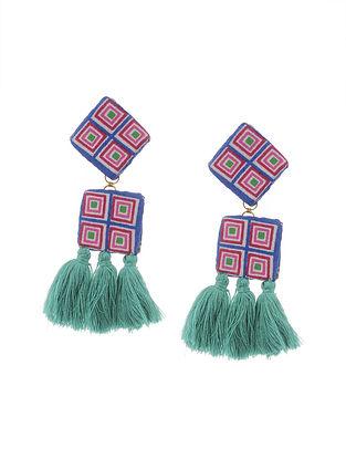 Multicolored Handmade Fabric Earrings with Tassels
