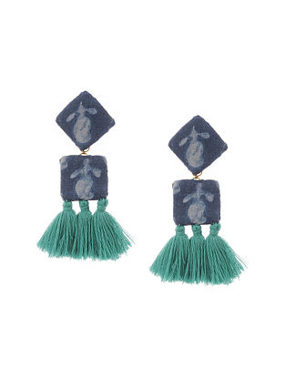 Black Green Handmade Fabric Earrings with Tassels