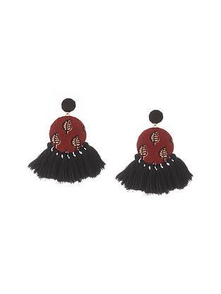 Black Maroon Handmade Fabric Earrings with Tassels