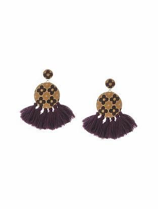Mustard Purple Handmade Fabric Earrings with Tassels