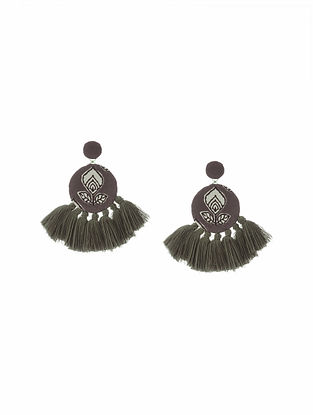 Grey Handmade Fabric Earrings with Tassels