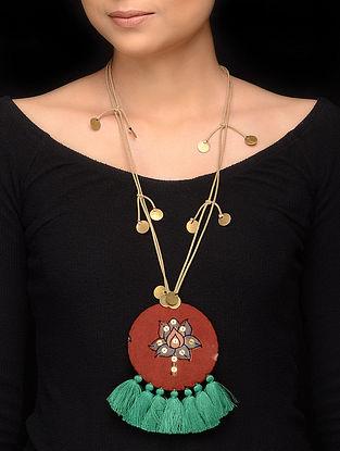 Maroon Green Handmade Fabric Pendant Necklace