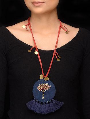 Indigo Red Handmade Fabric Pendant Necklace