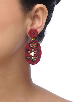 Maroon Embroidered Earrings with Sequins