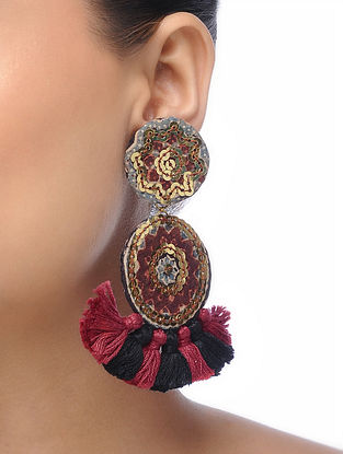 Maroon-Black Embroidered Tassel Earrings with Sequins