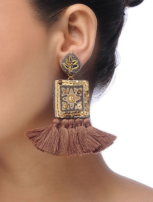 Beige Embroidered Tassel Earrings with Sequins and Threadwork