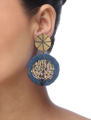 Blue Embroidered Earrings with Sequins